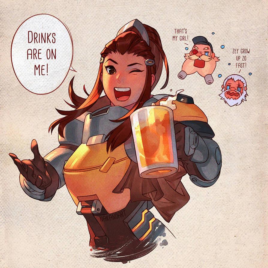 Overwatch - Drinks with Brigitte by nakanoart