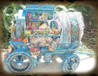 Miniature Gypsy Fairy Wagon by grimdeva