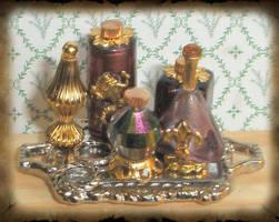 Mini Purple Potion Bottles by grimdeva