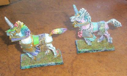 Rainbow Elven Horse Figures by grimdeva