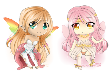 Comm028 :: Rainbow Buttercup and Nora by Kuichuu