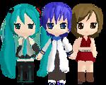 Miku Kaito Meiko Pixel~ by Miku-Chan-Vocaloid01