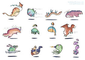 A Series of Flying Animals by shadeykris