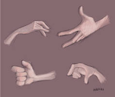 cartoony hands in colour by haffri