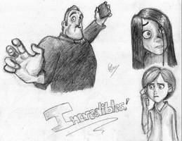 Incredibles - random sketches by KezzaMoss