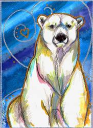 Polar Bear Watercolour by BumbleBeeFairy