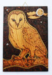 Pyrography Barn Owl Wall Tile by BumbleBeeFairy