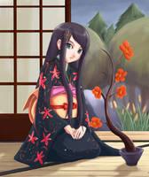 Kimono Girl Sitting by inukai