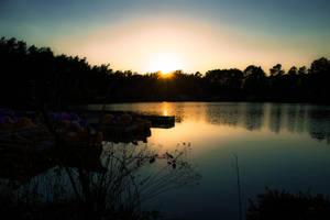 Sunset with lake by Bijou44