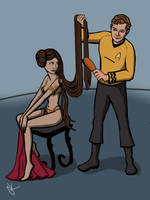 Princess Leia and Captain Kirk by Glitterside