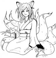 Kitsune Lady Lineart by shadowsmyst