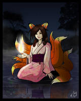 Fiery Kitsune of the Lake by shadowsmyst