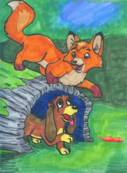 2.the Fox and the Hound by darkfauxe