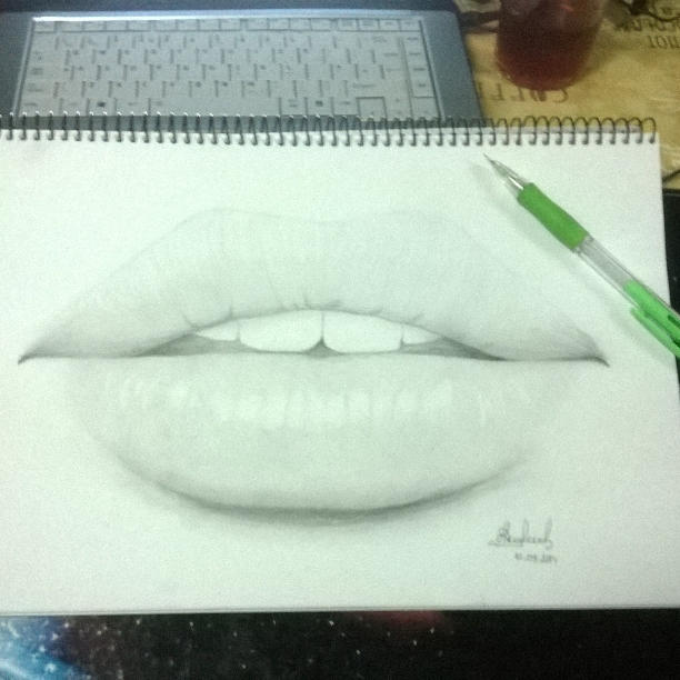 First Successful Attempt To Draw Realistic Lips By Just Nelly On