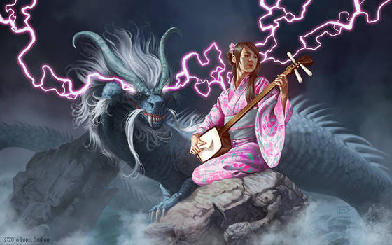 Benzaiten and the Dragon by LucasDurham