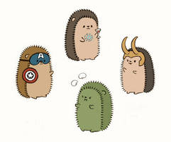 Avengers hedgehogs by Kata-elf