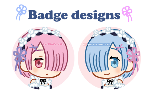 Rem and Ram badge designs by Kata-elf