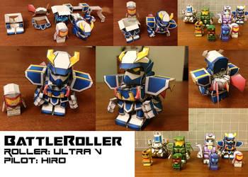 BattleRoller: Ultra V and Hiro papercraft mini by wulongti