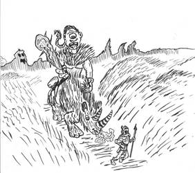 Rampaging Cyclops riding extinct rhinocerous by KingNot