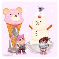 Overwatch Food Set - Ice Cream Building Contest by CubedCake