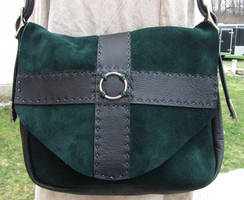 Suede Green Purse by EarthlyLeatherDesign