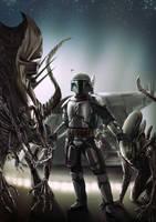 Jango Fett and his Alien Pets by Robert-Shane