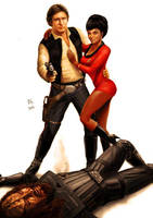 Star Wars meets Star Trek - Han Solo and Uhura by Robert-Shane