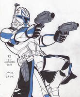 #Inktober pen sketch - Captain Rex by Robert-Shane