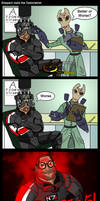 Shepard at the Optometrist by TiJiL