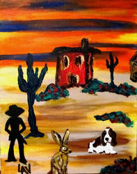A Cowboy, Cactus and Rabbit by LAReal