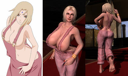 Tsunade - Pink Overalls by repinscourge