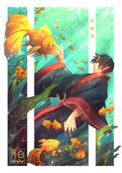 Falling into the Goldfish Sea by Saibrayyear