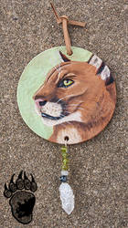 Mountain Lion Tooled Leather Round by Illuminaiae
