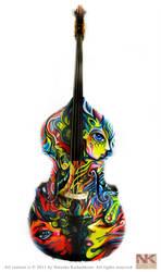 Custom Painted Double Bass by NatashaKudashkina