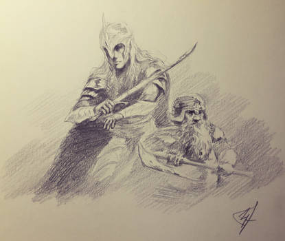 Legolas and Gimli in Helm's Deep by a-shipwright
