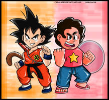 Kid Goku and Steven Universe - Crossover Poster by FaisalAden