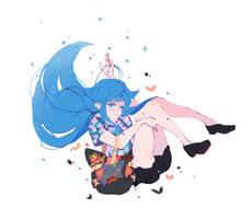 Happy blue flower [ c ] by Saiphh