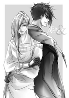Sketch commission - Eros and Agape by zefiar