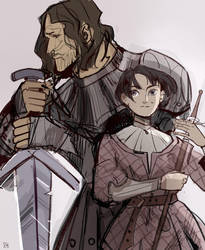 Arya and Sandor Clegane by Assoleine