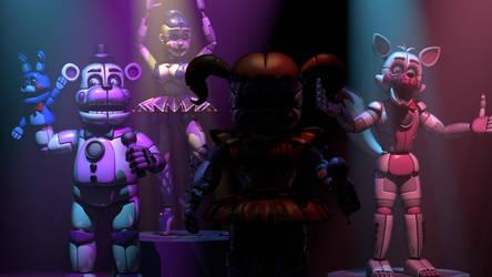 (FNAF C4D) Sister Location on stage by MoisoGS