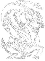 Chinese Dragons (uncoloured) by FineAsWine99
