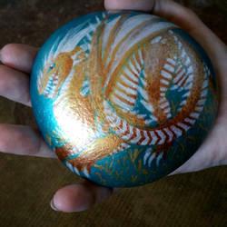 Golden Dragon Rock Painting by FineAsWine99
