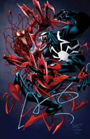 spidey venom carnage Print by RossHughes