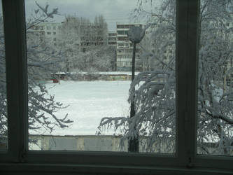 Window with a lot of snow by Gordjia