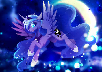 Princess Luna - Moonlight flight by Rariedash