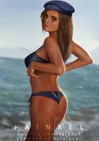 Captain Ana Amari with Bikini by fainxel