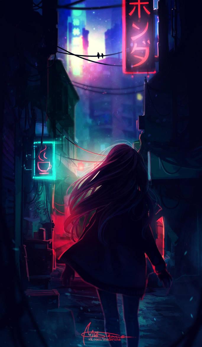 Night street by Mabiruna