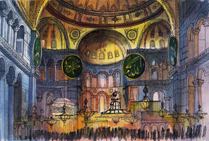 Hagia Sophia Interior / Sketchbook / Watercolor by MsRiin