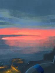 San Jose Sunset Outside Window Plane by darksapphiredrop