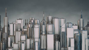 City Skyline HD Wallpaper 2560x1440 (C4D PSD) by botshow
